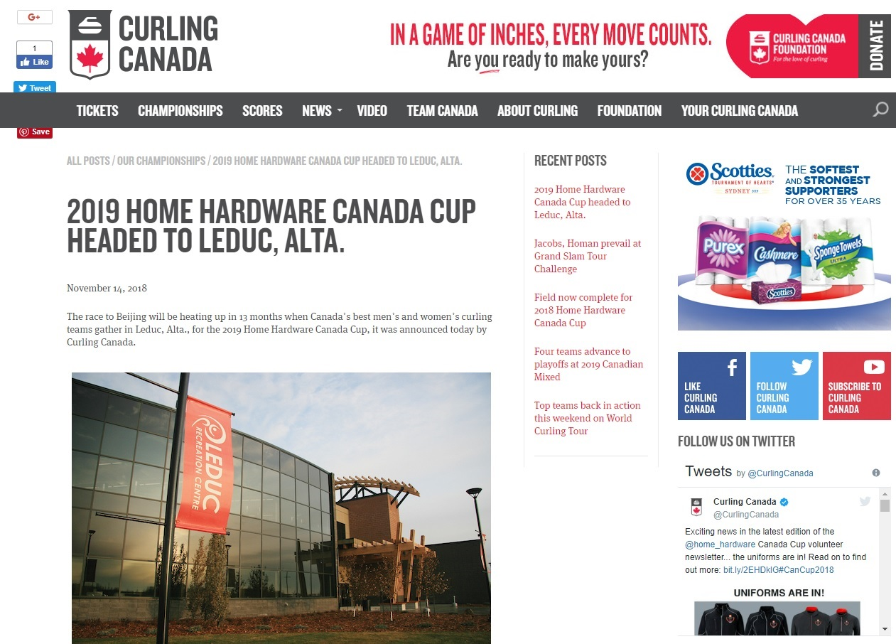 2019 Home Hardware Canada Cup Headed to Leduc